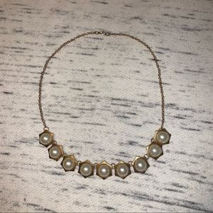 Charlotte Russe gold pearl statement necklace